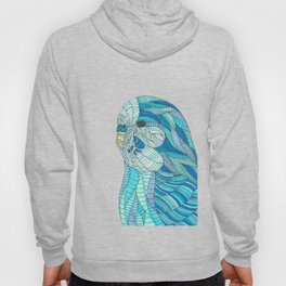 'Stained Glass Budgie' Ombre Blue Line work Geometric Illustrated Budgie Hoody