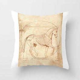 Da Vinci Horse In Piaffe Throw Pillow