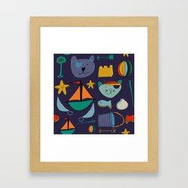cat and bear pirate purple Framed Art Print