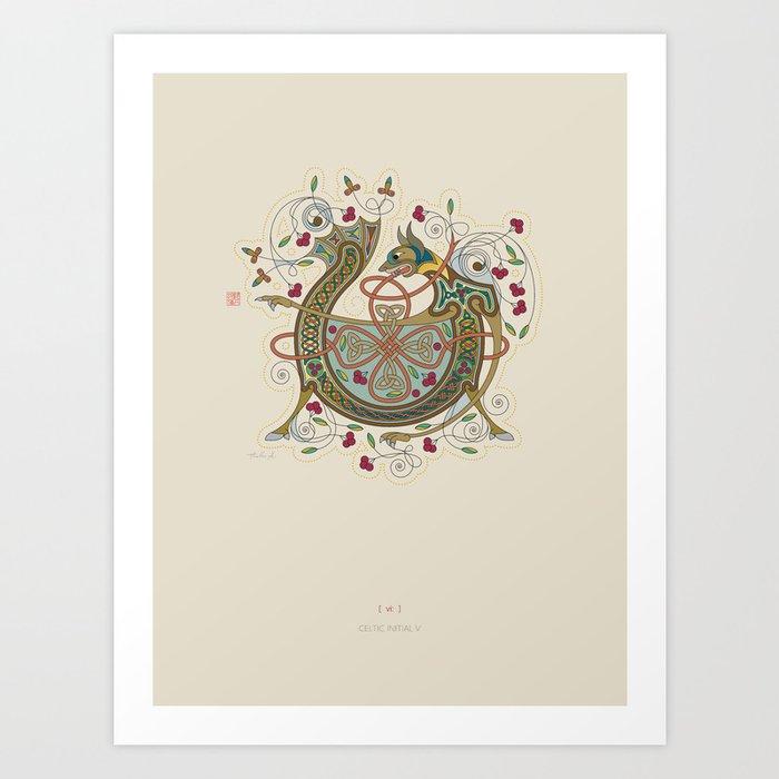 Celtic Initial V Art Print