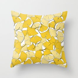 ginkgo leaves (yellow) Throw Pillow