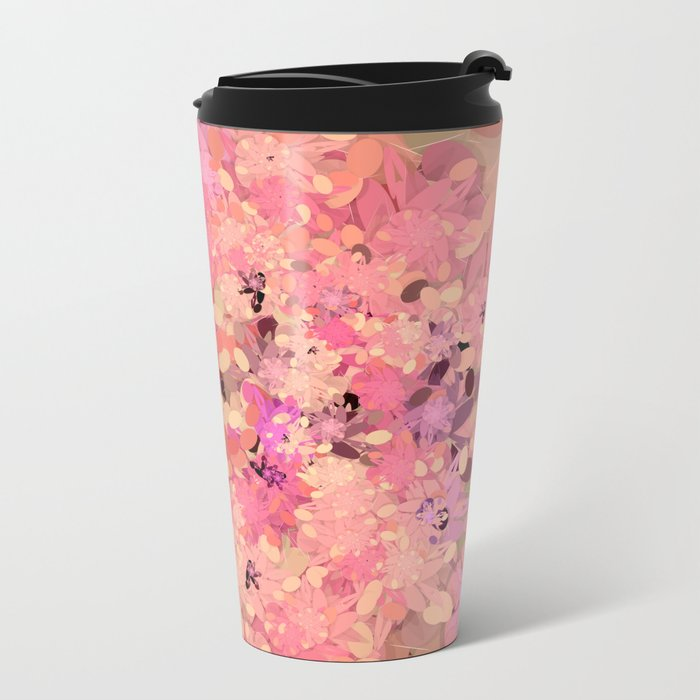Two Different Worlds -- Floral Pattern Metal Travel Mug