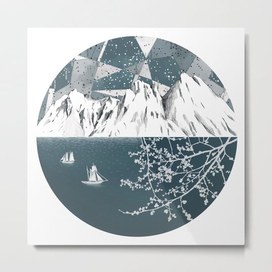 Mountain print , Navy Blue poster , mid century Modern art , travel poster Metal Print
