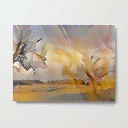 Fall Trees in Yellow Light Metal Print