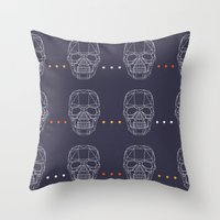 skulls Throw Pillows featuring Skulls by Hipster