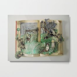 Fairytale Garden | Vintage Book Sculpture with WaterColour Metal Print