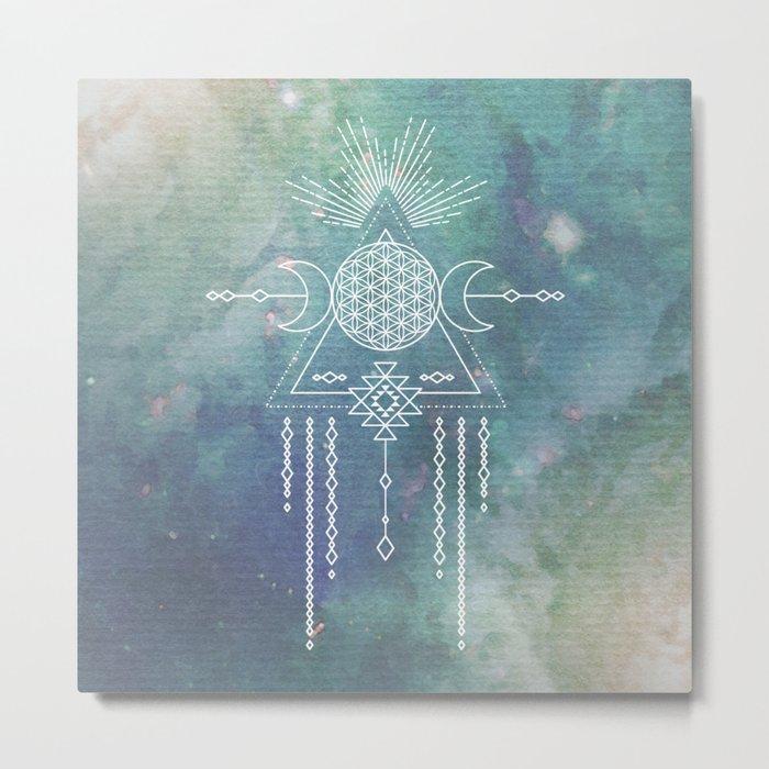 Mandala Flower of Life in Turquoise Stars Metal Print