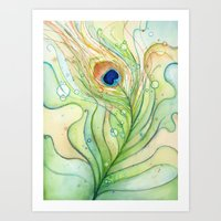 peacock feather Art Prints featuring Peacock Feather by Olechka