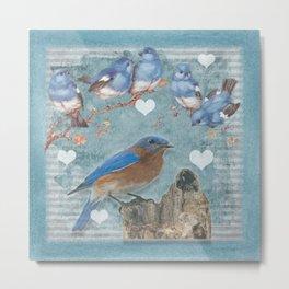 Blue Bird Mom and Her Babies Metal Print