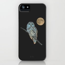Owl, See the Moon (sq Barred Owl) iPhone Case