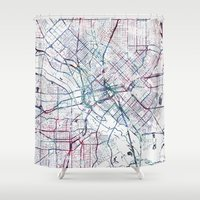 dallas Shower Curtains featuring Dallas map by MapMapMaps.Watercolors
