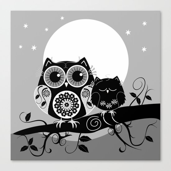 B&W Flower power Owl and her Sleepy Baby Canvas Print