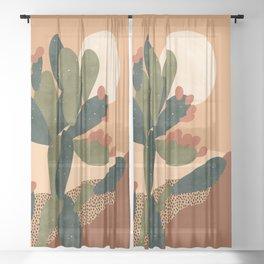 Prickly Pear Cactus Sheer Curtain