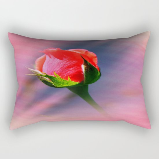 Sunset Rose Bud Rectangular Pillow