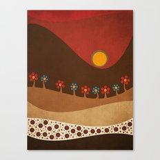 Circular landscape & flowers Canvas Print
