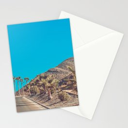 Andalusia street with palm trees at sunset. Retro toned Stationery Cards