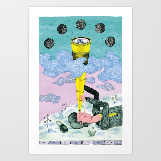 A Man Studies the Phases of the Moon Art Print