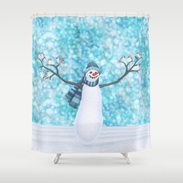 snowman and tufted titmouse flock Shower Curtain