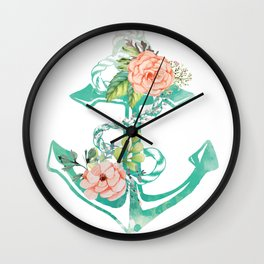Anchor and Roses Wall Clock
