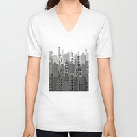 plaid V-neck T-shirts featuring Plaid City by LindaWexlerArt