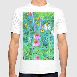 White and Purple Coneflowers and Yellow Rudbeckia Garden T-shirt
