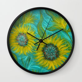 Sunflower Abstract on Turquoise I Wall Clock