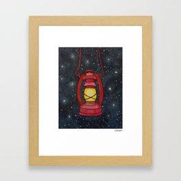 Lantern Night Sky Illustration Framed Art Print