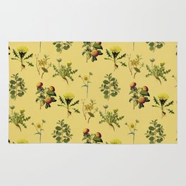Wild Forest and Field Yellow Flower Herb Pattern Rug