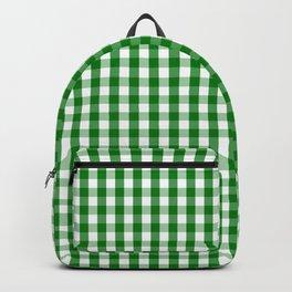 Christmas Green Velvet Large Gingham Check Plaid Pattern Backpack