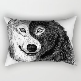 Ying Yang Wolf Rectangular Pillow
