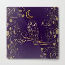 Golden Owl Crescent Moon Metal Print