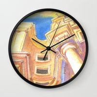 baroque Wall Clocks featuring baroque by Tereza Del Pilar