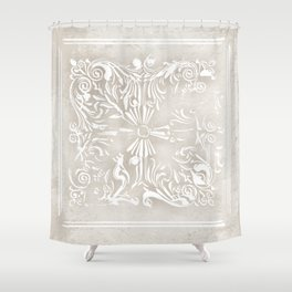 Bohemian style vintage white scroll on rustic beige Shower Curtain