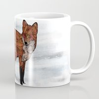 snow Mugs featuring Red Fox by Ben Geiger