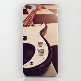 Black and white Bass guitar. iPhone Skin