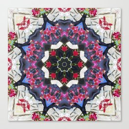 Orchids And Stone Wall Kaleidoscope 1763 Canvas Print