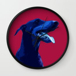 Doberman Pop art portrait. Wall Clock