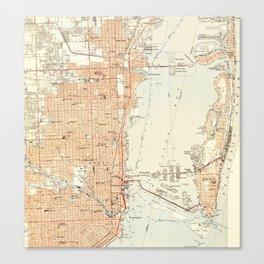 Vintage Map of Miami Florida (1950) Canvas Print