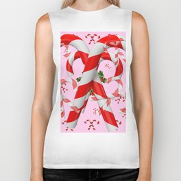 RED-WHITE PINK  CHRISTMAS CANDY CANES HOLLY BERRIES  ART Biker Tank
