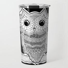 Black & White Owl Travel Mug