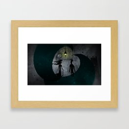 The Man and The Girl on Moons Framed Art Print