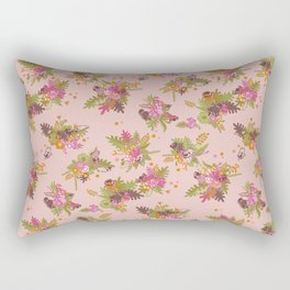 Pugs in flower garden Rectangular Pillow