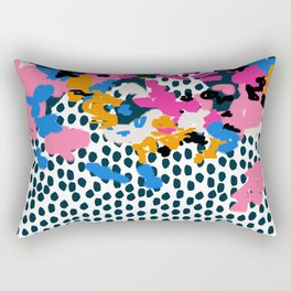 Kenzi - abstract painting minimal hot pink blue dots color palette boho hipster decor nursery Rectangular Pillow