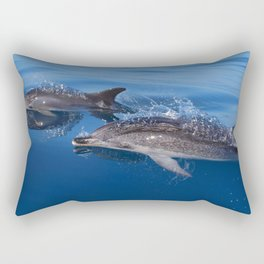Mother and baby spotted dolphin Rectangular Pillow