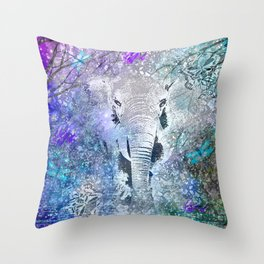 ELEPHANT IN THE STARRY LAKE Throw Pillow