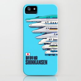 Shinkansen Bullet Train Evolution - Cyan iPhone Case