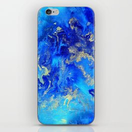 Blue & Gold Abstract II d171011 iPhone Skin