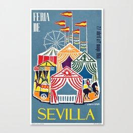 Spain 1960 Seville April Fair Travel Poster Canvas Print