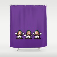 willy wonka Shower Curtains featuring Pixelly Wonka by Eric A. Palmer