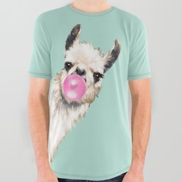 Bubble Gum Sneaky Llama in Green All Over Graphic Tee